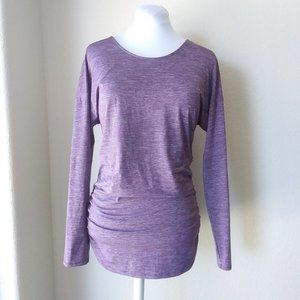 Lucy Active Wear Purple Long Sleeve Micro Stripe T